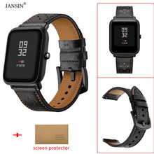 20mm Leather Watch Strap for Xiaomi Huami Amazfit Bip Smart Youth Band