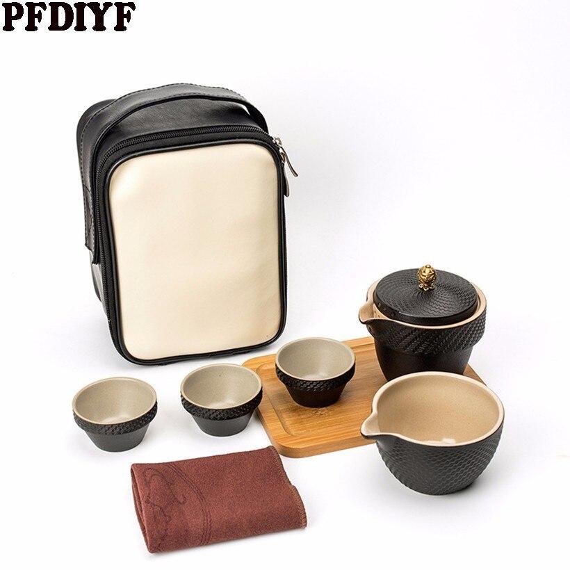 Chinese Travel Kung Fu Tea Set coffee sets Ceramic Portable Teacup Porcelain Service Quality Tea Cups Mug of Tea Ceremony Teapot