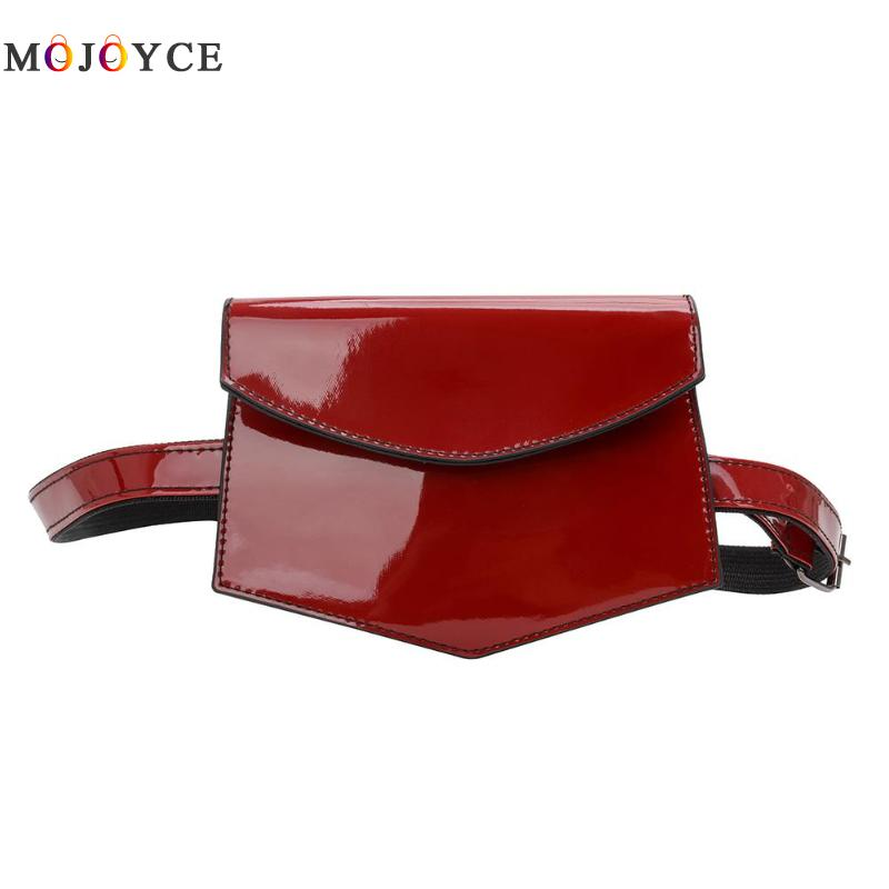 Solid Color Women Waist Bags Phone Pouch Fashion Belt Bags Patent Leather Chest Fanny Packs