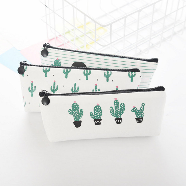 Ellen Brook 1 Piece New Kawaii Fashion Cute Cactus Pen Pencil Bag Canvas School Office Supplies Stationary Case