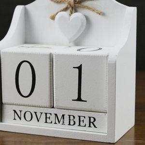 Image 4 - חדש 2019 Creative Diy עץ בלוק תמידית שולחן לוח פסלוני עץ לוח שנה לוח שנה אופנה בית משרד קישוט מתנה