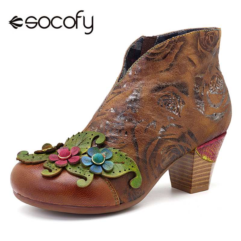 Socofy Retro Genuine Leather Winter Boots Women Shoes Woman Ankle Boots Handmade Flower Block Heel Booties Female Ladies ShoesSocofy Retro Genuine Leather Winter Boots Women Shoes Woman Ankle Boots Handmade Flower Block Heel Booties Female Ladies Shoes