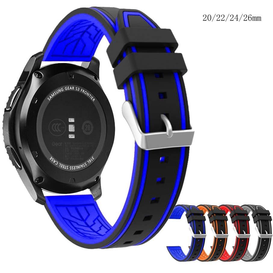 c2923fe7a8f7 De silicona suave correa de reloj 20mm 22mm 24mm 26mm buceo impermeable  pulsera-banda de reloj de correa Accesorios