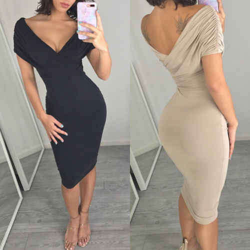 4d71cf755792 Sexy Women Summer Bandage Bodycon Dresses Khaki Navy Blue Ladies V neck  Pencil Dress Evening Party