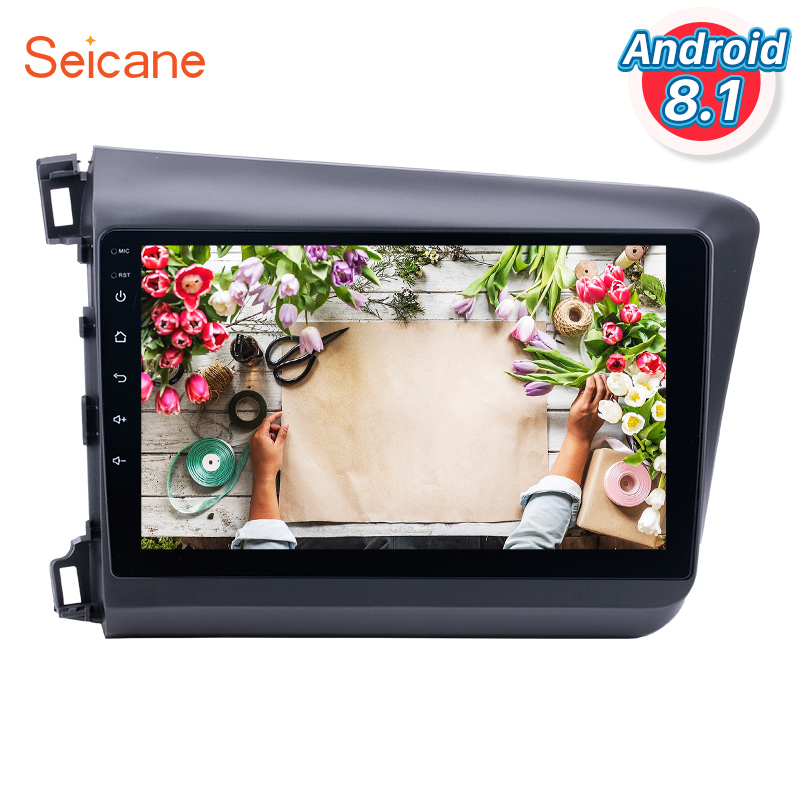 Seicane 10.1 inch for 2012 Honda Civic Android 8.1 Radio GPS Car Audio System with Bluetooth 3G WiFi HD 1024*600 Multi-touch