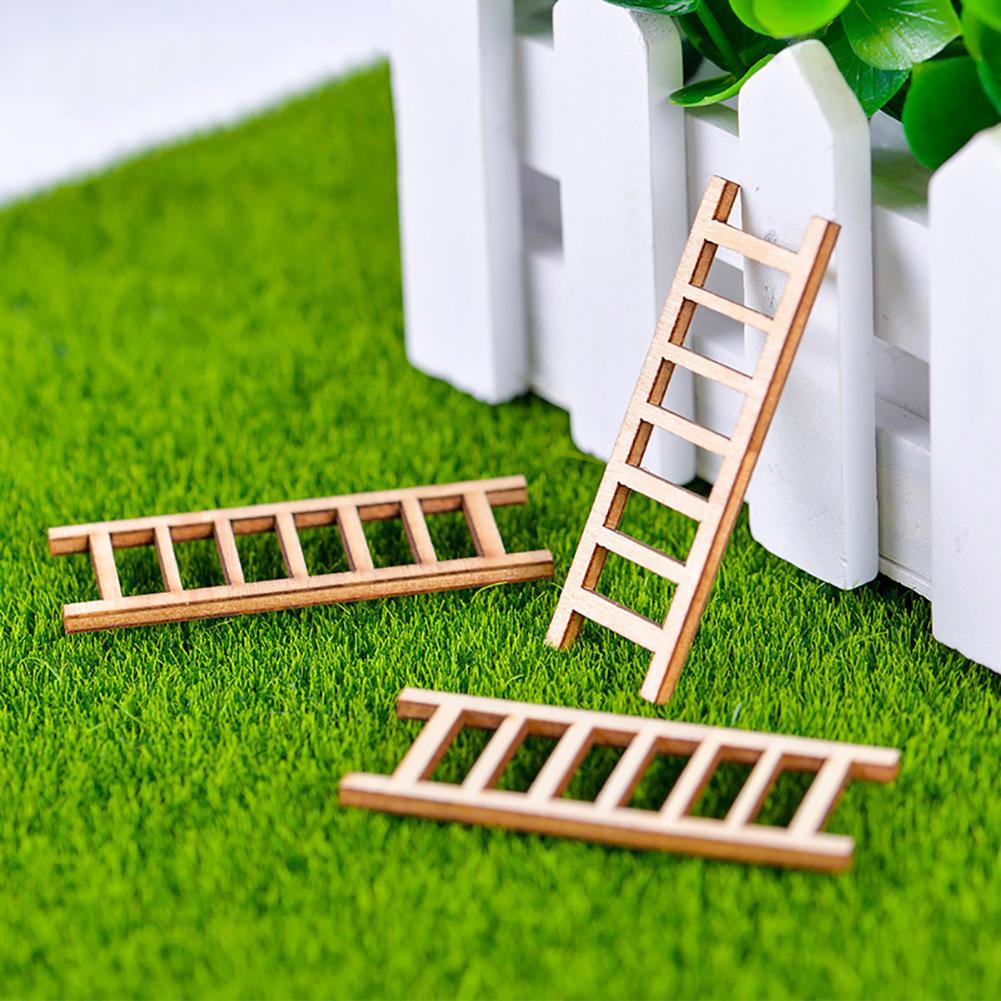 3Pcs Mini Miniature Wooden Step Ladder Fairy Garden DIY Micro Landscape Yard & Garden Decor Hot
