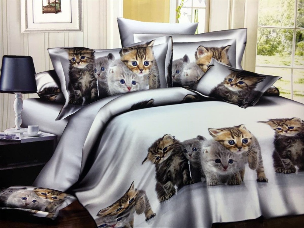 White Cat 2/3/4pcs Bedding Sets Childrens Beddingset Bed Linen Duvet Cover Bed Sheet Pillowcase/bed Set28White Cat 2/3/4pcs Bedding Sets Childrens Beddingset Bed Linen Duvet Cover Bed Sheet Pillowcase/bed Set28