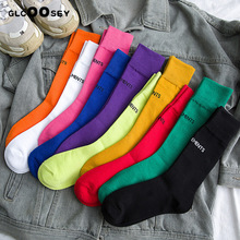 New tide brand womens socks Paris letter high cotton colorful Harajuku ladies