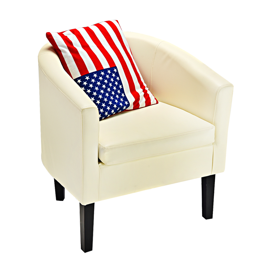 Panana PU Leather Tub Chair Armchair Office Lounge Chairs Dining Living Room Cafe Padded Seat Cream