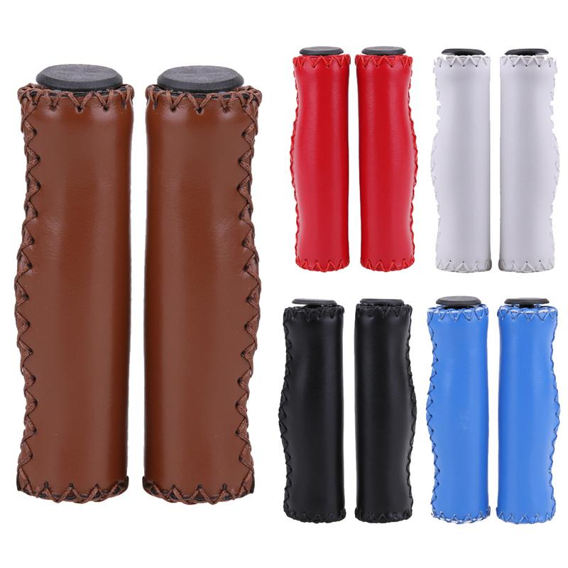 1 Pair High Quality Bicycle Leather Handlebar Set Hand-stitched Retro Wind Bike Handle Fashion Cycling Handle Protect Cover
