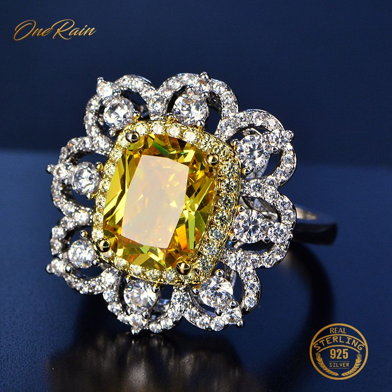 OneRain Vintage 100% 925 Sterling Silver Pink Sapphire Amethyst Citrine Wedding Engagement For Women Ring Jewelry Wholesale