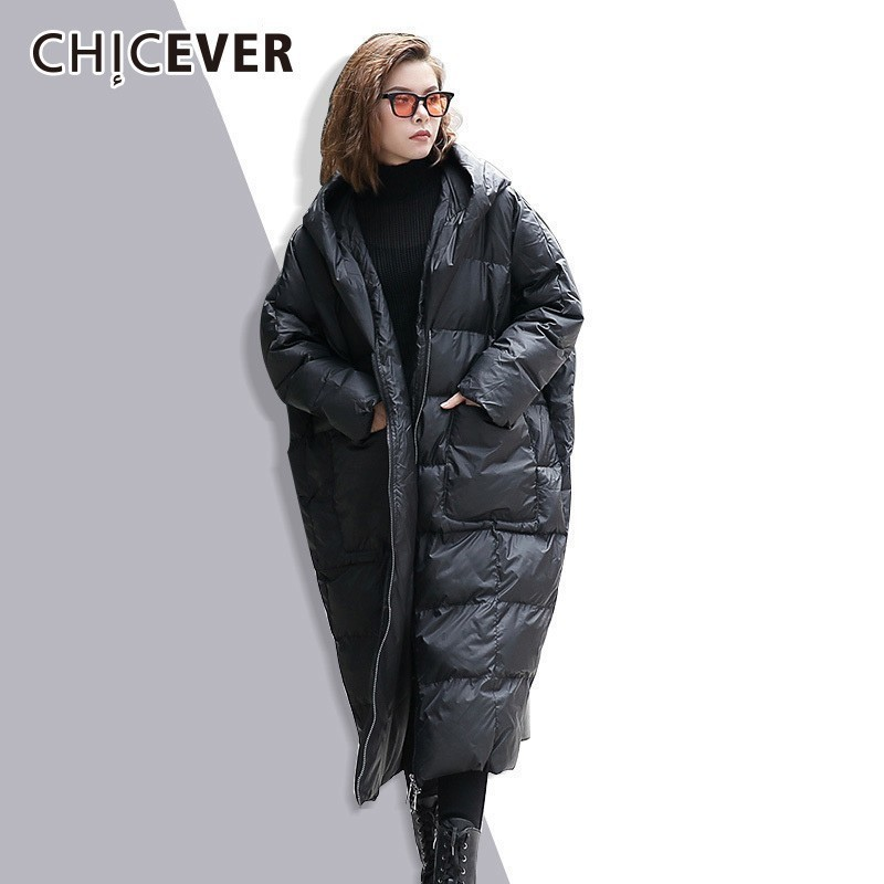 CHICEVER Hooded Winter Thick   Parkas   Coat Female Loose Oversize Plus Thick Long Sleeve Loose Big Size Women Coats Clothes Fashion