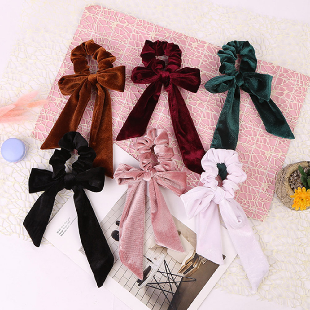 1pc Women Velvet Bow Streamer Scrunchies Hair Rope Tie Elastic Hair Bands Ponytail Holder Girls Hair Accessories