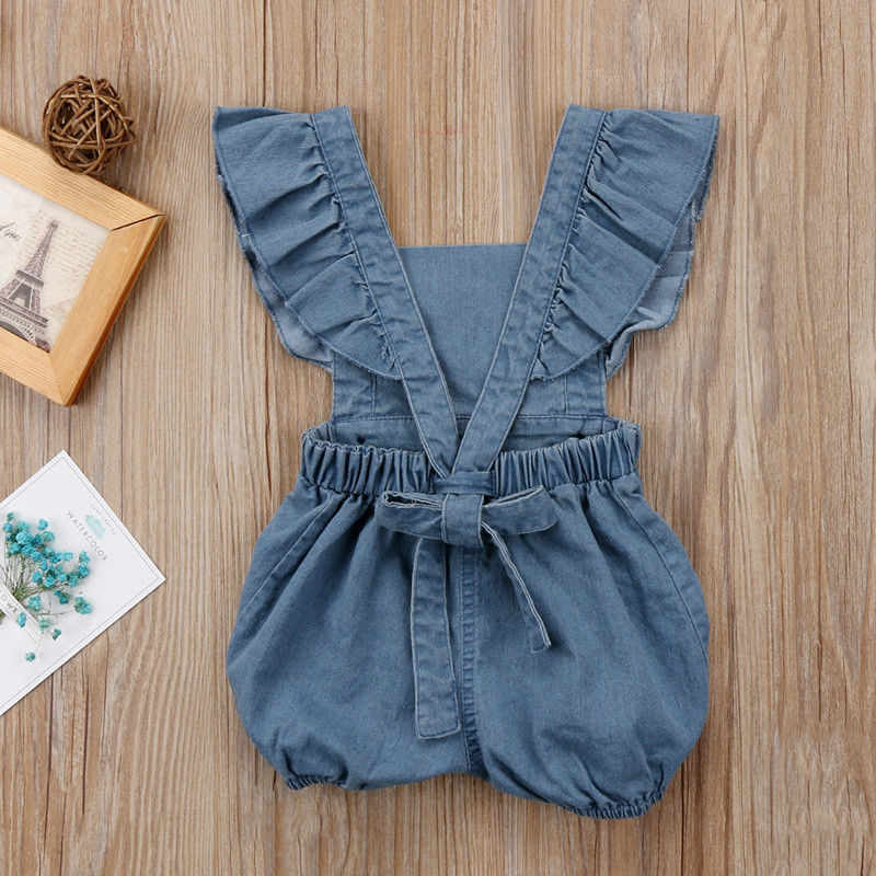 b39f33ef2356 ... Pudcoco 2019 Summer Newborn Baby Girls Ruffles Romper Jumpsuit Denim  Sunsuit Outfits Baby Clothing 0- ...