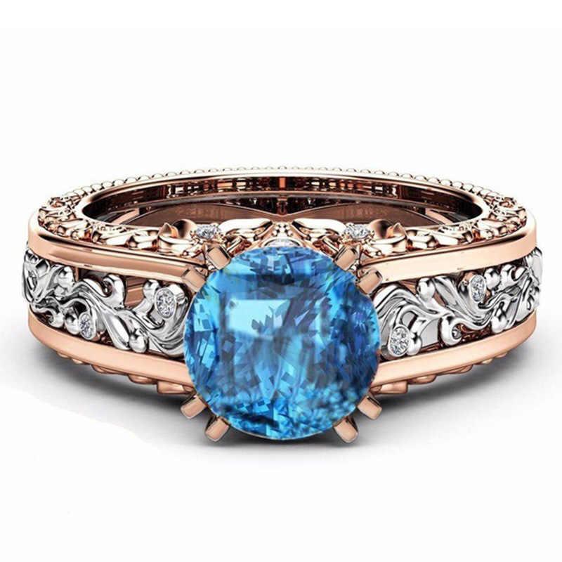 ผู้หญิงแหวนโลหะผสมชุบ 14k Rose Gold แหวนเครื่องประดับขายส่งเพชรแหวนฮาโลวีน Zircon FlowerB1386