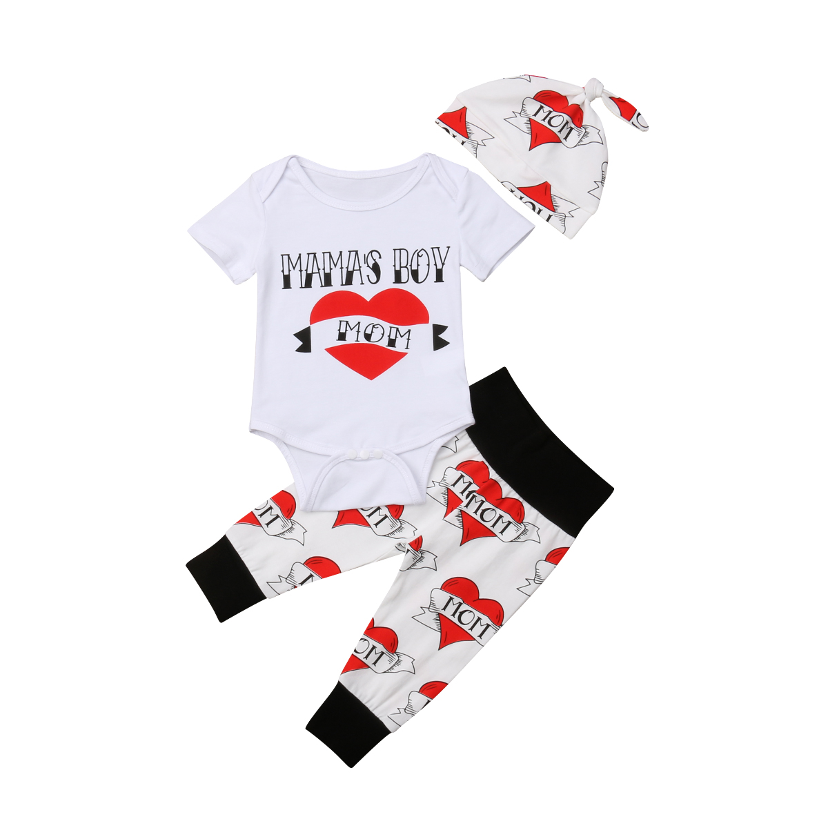 684fe8fc5562 2019 Multitrust Brand Fashion MAMA BOY Toddler Baby Boys Romper Short Sleeves  Love Heart Jumpsuit Long Pants Clothes Outfits-in Clothing Sets from Mother  ...