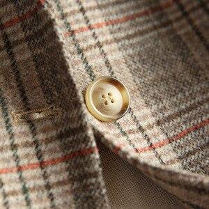 Image 3 - Женский шерстяной Блейзер 80% шерсть 20% полиэстер клетчатый офисный Женский блейзер на одной пуговице с двумя карманами куртки 2020 осенне зимнее шерстяное пальто