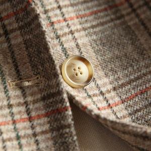 Image 3 - Women Wool Blazer 80%Wool 20%Poly Plaid Office Lady Blazer Single Button Two Pocket Jackets 2020 Autumn Winter Wool Coat