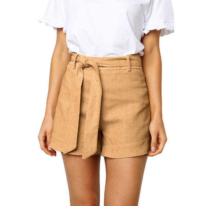 Fashionable Casual Pure Color Washed Cotton Shorts With Straps Mid Waist Comfortable Shorts