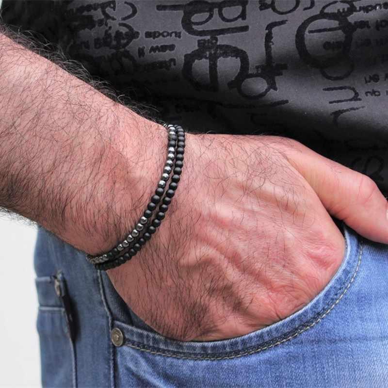 2 יח'\סט 4mm קטן טבעי אבן חרוזים צמיד מינימליסטי פשוט זוג צמיד עבור Pulsera Hombre Yogo Biker שאוהב תכשיטים