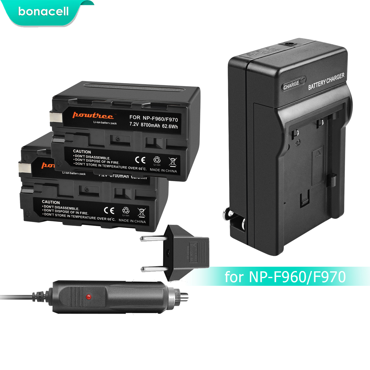 Bonacell 7.2V 8700mAh NP F960 NP F970 NP F960 F970 F950 Battery+Charger For Sony PLM 100 CCD TRV35 MVC FD91 MC1500C L10