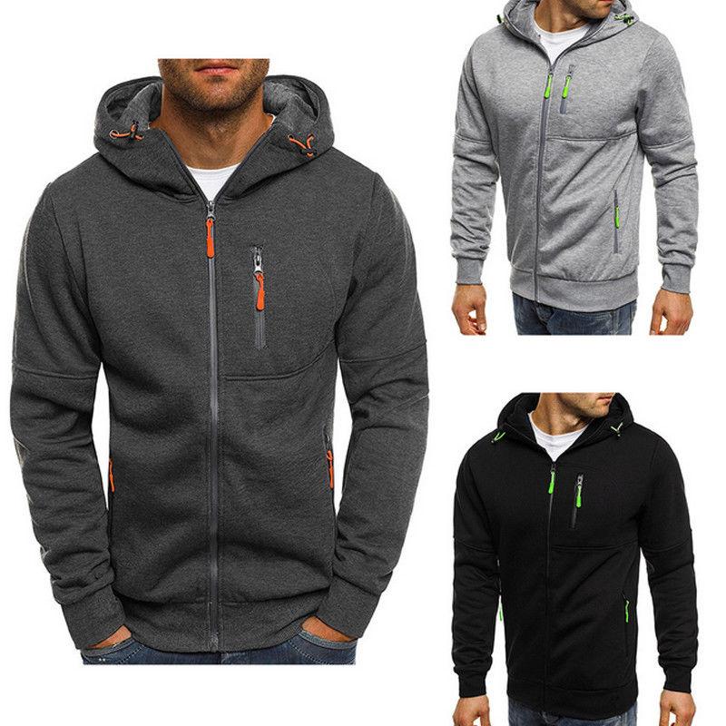 Brand New 2019 Gray/Black Sweatshirt Mens Fall Zip Up Hoodie Hoody Jacket Sweatshirt Casual Gym Hooded Coats Top Outwear