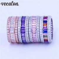 MoYan 4 вида цветов Для женщин камень Jewelry Кольцо 15ct 5A Циркон Cz 925 пробы серебро Обручение обручальное кольцо для Для женщин мужчин