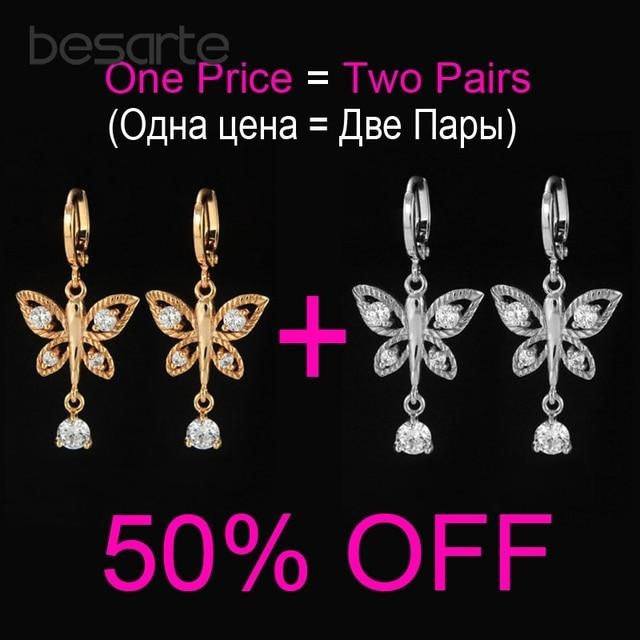f103ac889786 2 par lote lindo mariposa Color oro aro pendientes para las mujeres Bijoux  Boucle d