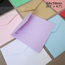 """50 pcs 158x158mm (6.1 """"x 6.1"""") צבע נייר כרטיס ברכת מעטפת הזמנה לחתונת מעטפת כיסוי"""