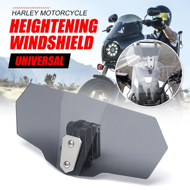 Universal Adjustable Airflow Windscreen Wind Deflector Windshield Motorcycle Parts For Triumph Suzuki Yamaha Honda Kawasaki KTM