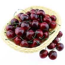 Gresorth 50pcs Artificial Lifelike Red Black Cherry Decoration Fake Chrries Fruit Home Party Christmas Display