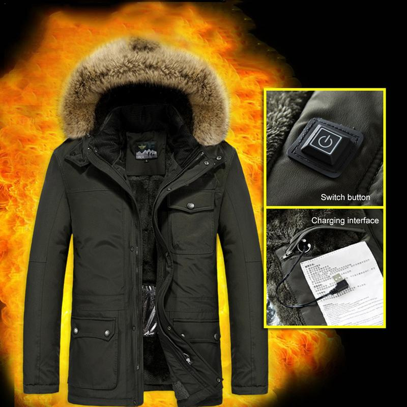 Winter Heated Jacket Men Clothing Fashion Casual Slim Thick Warm Mens Coats Parkas With Hooded Long Overcoats Male Clothes