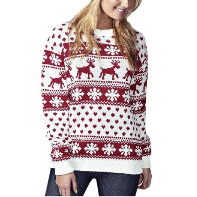 Winter Fashion Chic Women Christmas Snowflake Reindeer Jumper Oversized Knit Sweater Lady Pullover Tops Xmas Coat 2 Color