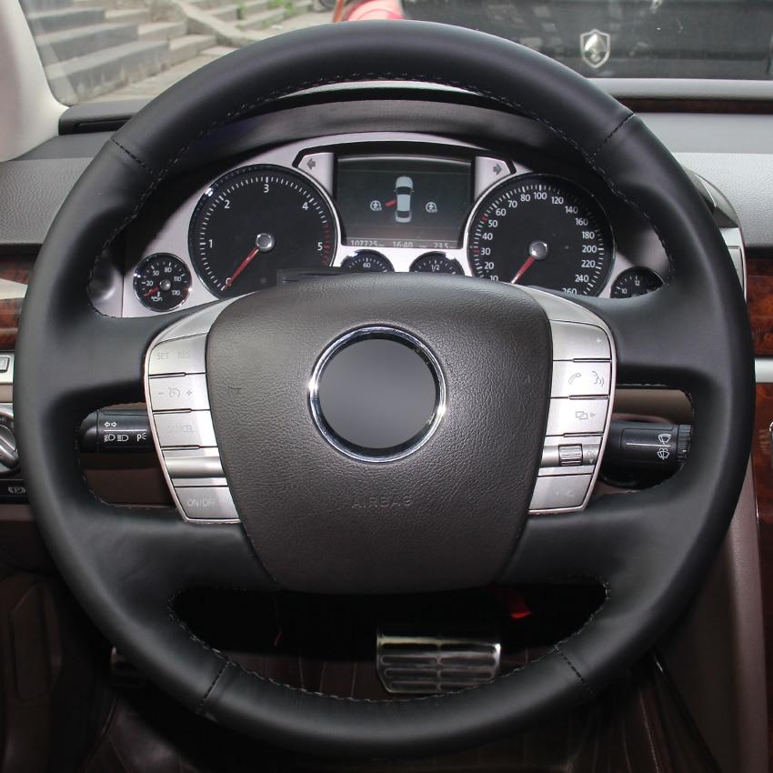 Couverture de volant de voiture en cuir naturel noir envelopper la couture à la main pour Volkswagen VW Phaeton 2011-2015