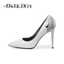 AIKELINYU Fashion Women Pump 2019 Genuine Leather Shoes ladies Sexy Wedding High Heel 9Inches Black 34-39