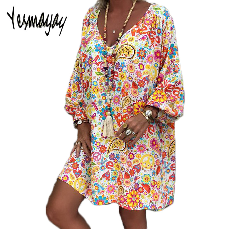 Women Dresses Knee Length Ovesize Spring Summer Dress Plus Size Casual Vintage Long Sleeve Sexy Women Dress Vestidos Mujer 2019