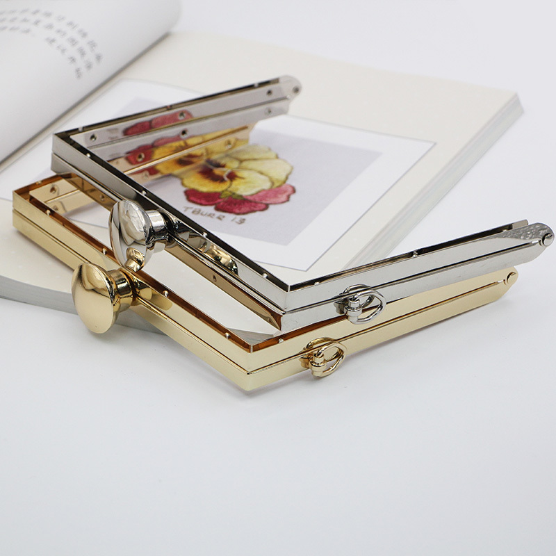 18cm Gold / Silver Square Round  DIY Purse And Bags Hardware Parts Metal Purse Frame With Screws Obag Wallet Box Clutch Frame