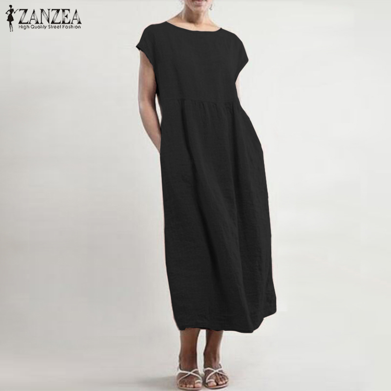 Maxi Dress 2019 ZANZEA Women Summer Sundress Casual Solid Mid Calf Vestidos Cotton Linen Sleeveless Robe Longue Femme Plus Size