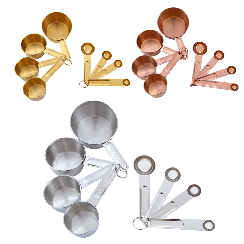 8pcs/set Rose Gold Stainless Steel Measuring Cups And Spoons Scoop Set With Engraved Measurements Kitchen Cook Accessories