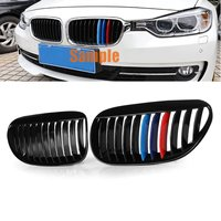 for BMW 6 Series E63 E64 M6 2005 2006 2007 2008 2009 2010 Pair Front Grilles Gloss Type M Color Black