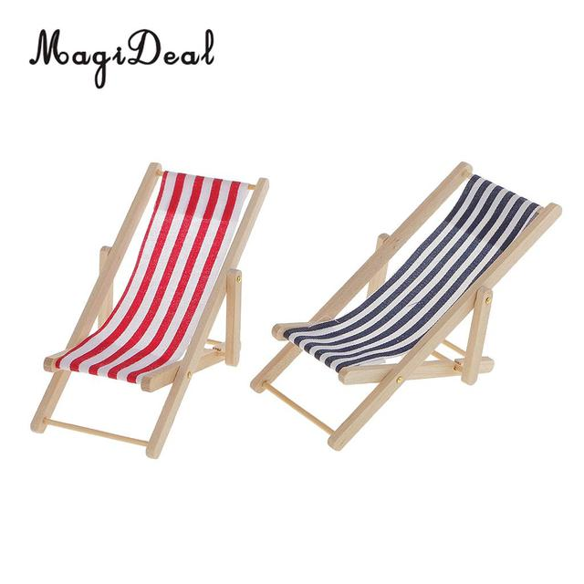 Miniature Red And Blue Stripe Wooden Lounge Beach Lawn Chair For 1