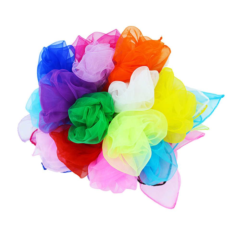 6 шт. 60x60 см квадратные шелковые шарфы для танца, шарфы движения, волшебные трюки, реквизит для детей, аксессуары