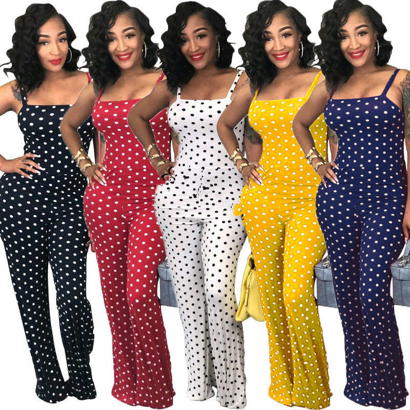 2019 Women Ladies Clubwear Summer Playsuit Jumpsuit Romper Long Pants Polka Dots Party Trousers Plus Size