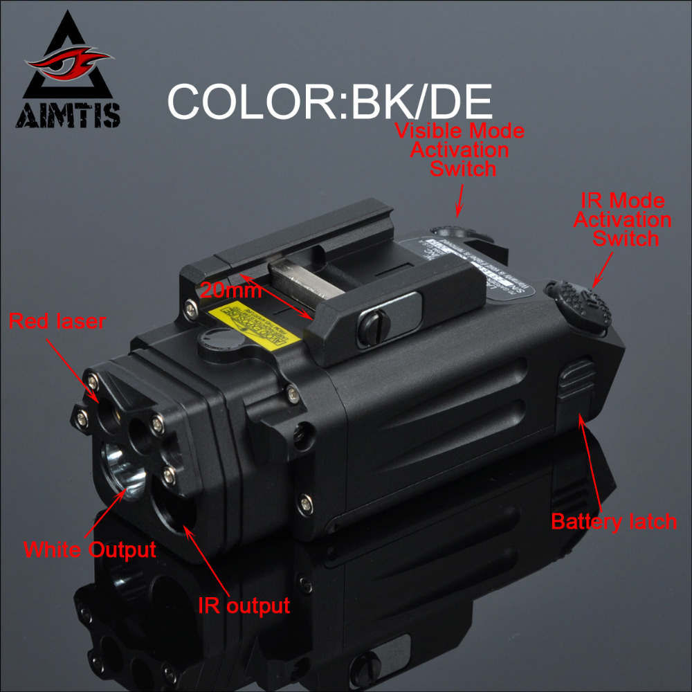 AIMTIS DBAL-PL Tactical IR Laser Light Combo Strobe Weapon Light LED Gun Tac Flashlight With Red Laser NV Illuminator