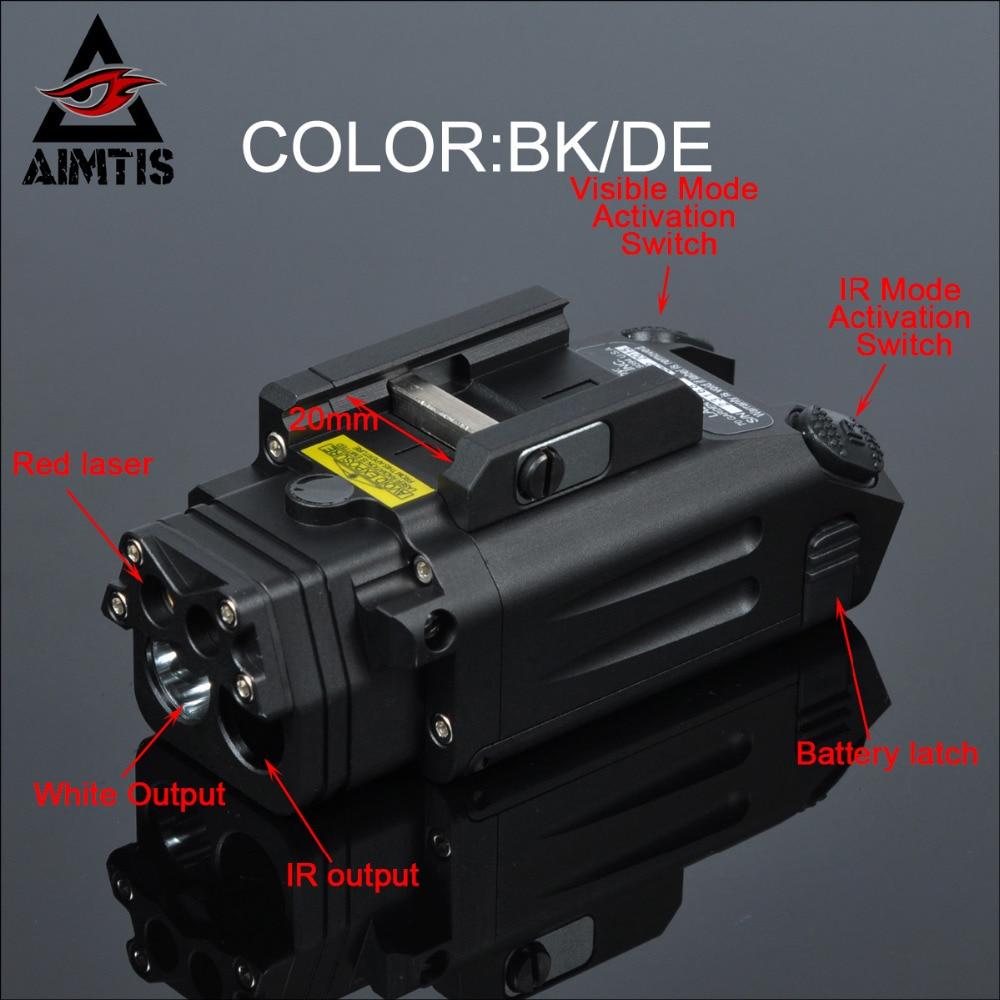 AIMTIS DBAL-PL Tactical IR Laser Light Combo Strobe Weapon Light LED Gun Tac Flashlight With Red Laser NV Illuminator