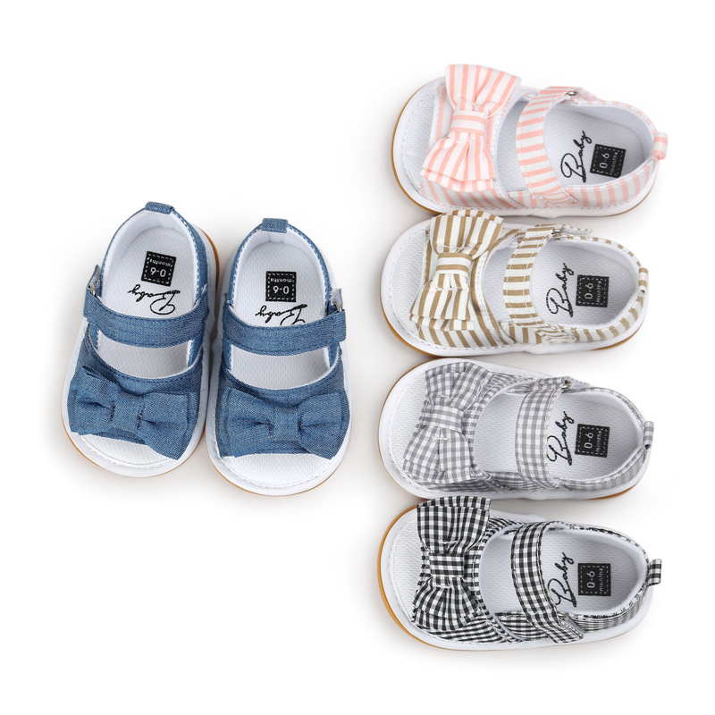 Toddler Baby Girls Shoes Cute Lovely Summer Cotton Cloth Sandals Striped Plaid Denim Bowknot Anti-Slip Soft 0-18M Clogs