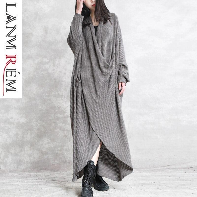 LANMREM 2019 Nouveau Mode Printemps Irrégulière Femmes de Robe À Manches Longues Noir Gris Col V Poches Asymétrique Tissu Robe YF881
