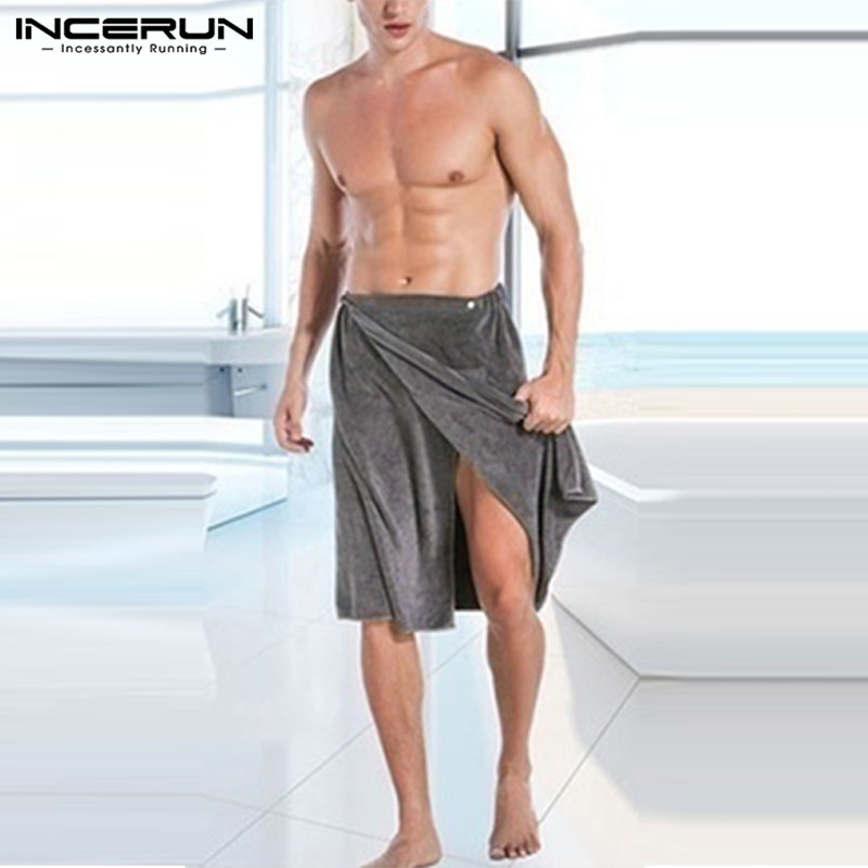 NEW Fashion Men Bath Towel With Pockets Wearable Magic Button Soft Swimming Beach Bath Towels Comfortable Male Towel Blanket