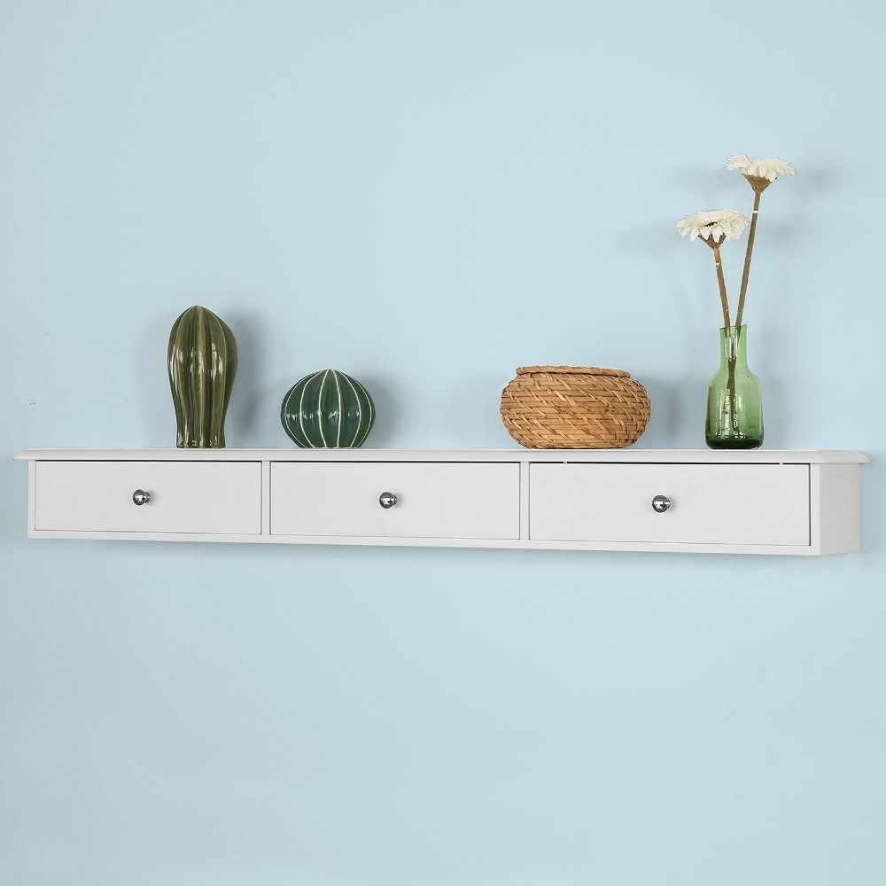 SoBuy FRG43-L-W, Wall Shelf Floating Shelf Wall Drawers, Wall Storage Display Unit With 3 Drawers