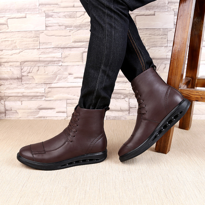 British Style Vintage Men Boots Crazy Genuine Leather Martin Men Autumn Boots Water Proof Work Hiking Winter Ankle Boots Shoes 4 2x cool led dynamic car door sill scuff plate guard sills protector trim for peugeot 4008 from 2012 2015 car styling